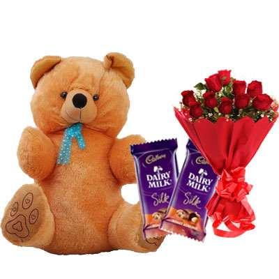 40 Inch Teddy with Silk & Bouquet