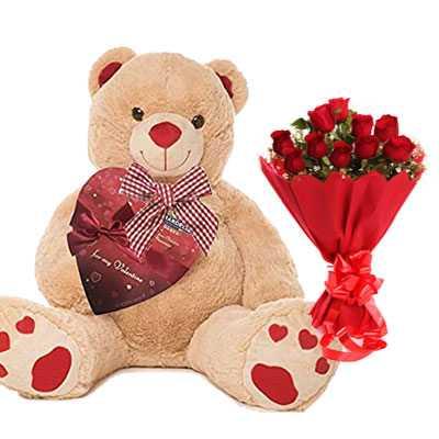 Big Teddy with Bouquet