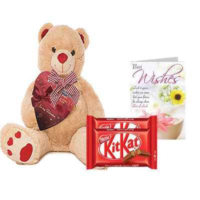 Big Teddy with Kitkat & Greeting
