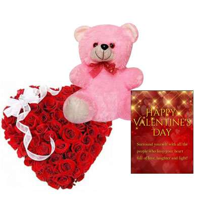 Red Rose Heart Arrangement with Teddy & Card
