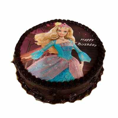 Barbie Doll Chocolate Photo Cake