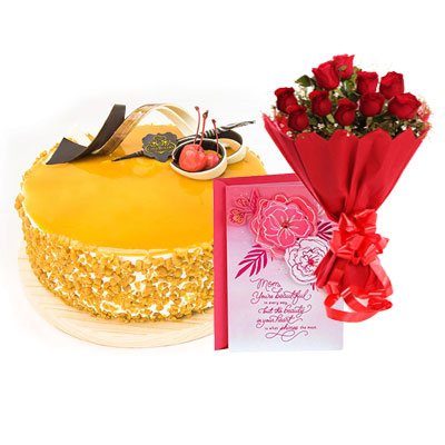Butterscotch Cream Cake, Bouquet & Card