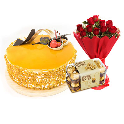Butterscotch Cream Cake, Bouquet & Ferrero
