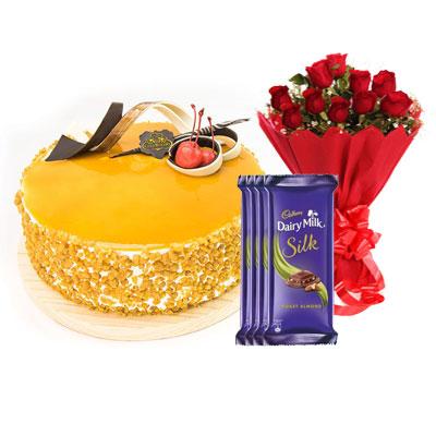 Butterscotch Cream Cake, Bouquet & Silk