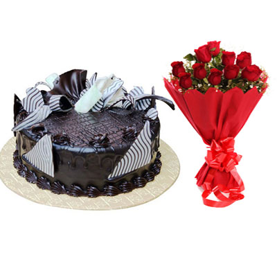 Chocolate Cream Cake & Bouquet