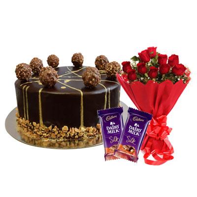 Ferrero Rocher Chocolate Cake, Bouquet & Silk