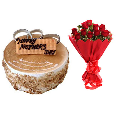 Mothers Day Butterscotch Cake & Bouquet