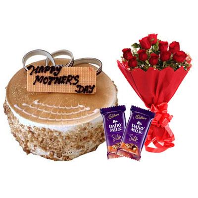 Mothers Day Butterscotch Cake, Bouquet & Silk