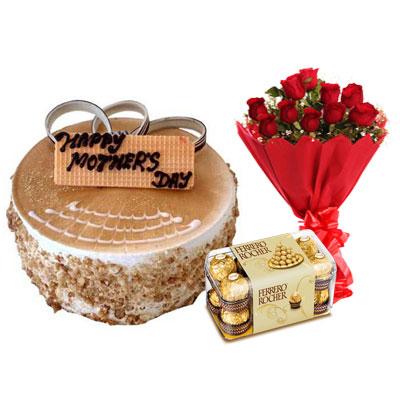 Mothers Day Butterscotch Cake, Bouquet & Ferrero