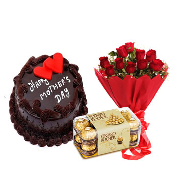 Mothers Day Chocolate Cake, Bouquet & Ferrero
