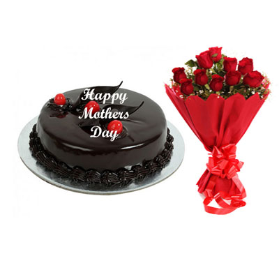 Mothers Day Chocolate Truffle Cake & Bouquet