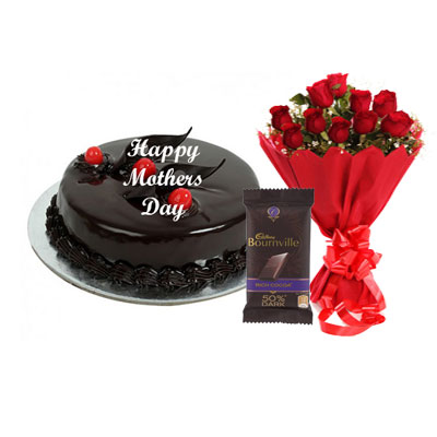 Mothers Day Chocolate Truffle Cake, Bouquet & Bournville