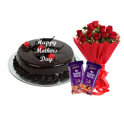Mothers Day Chocolate Truffle Cake, Bouquet & Silk