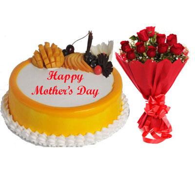 Mothers Day Mango Cake & Bouquet