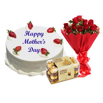 Mothers Day Vanilla Cake, Bouquet & Ferrero
