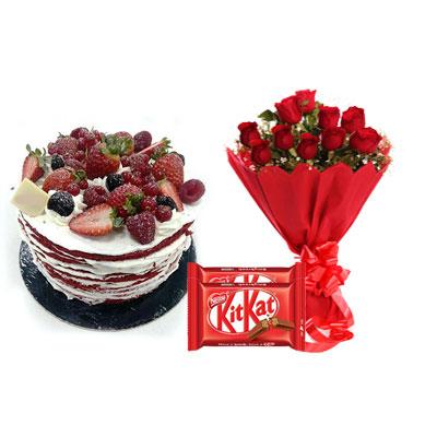 Red Velvet Fruit Cake, Bouquet & Kitkat