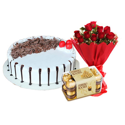 Snowy Black Forest Cake, Bouquet & Ferrero