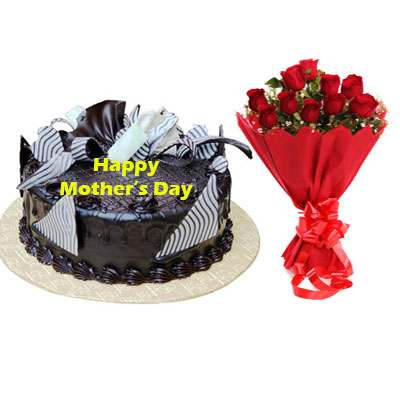 Mothers Day Chocolate Cream Cake & Bouquet