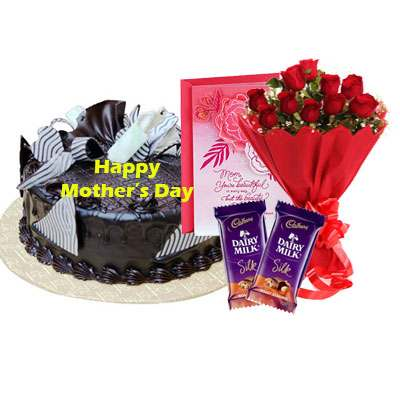 Mothers Day Chocolate Cream Cake, Bouquet, Silk & Card