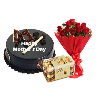 Mothers Day Chocolate Royal Cake, Bouquet & Ferrero