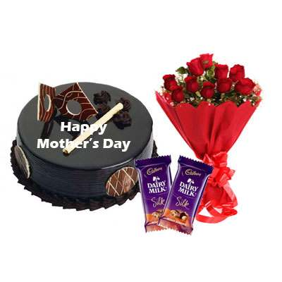 Mothers Day Chocolate Royal Cake, Bouquet & Silk