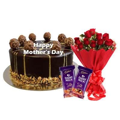 Mothers Day Ferrero Rocher Chocolate Cake, Roses & Silk
