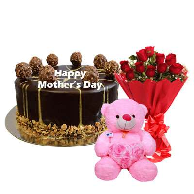 Mothers Day Ferrero Rocher Chocolate Cake, Roses & Teddy