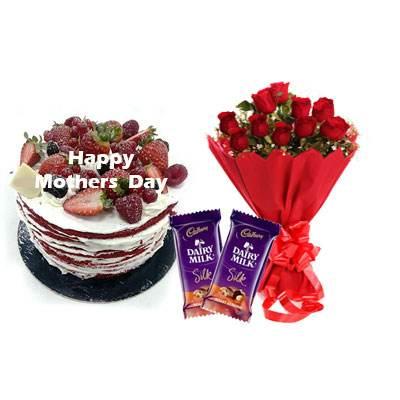 Mothers Day Red Velvet Fruit Cake, Bouquet & Silk