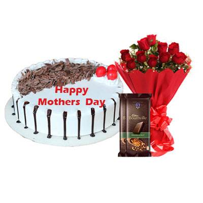 Mothers Day Snowy Black Forest Cake, Bouquet & Bournville