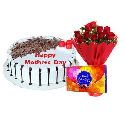 Mothers Day Snowy Black Forest Cake, Bouquet & Celebration