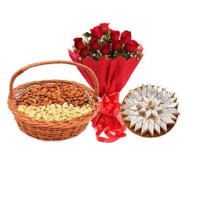 Almonds, Cashew, Kaju Burfi & Bouquet
