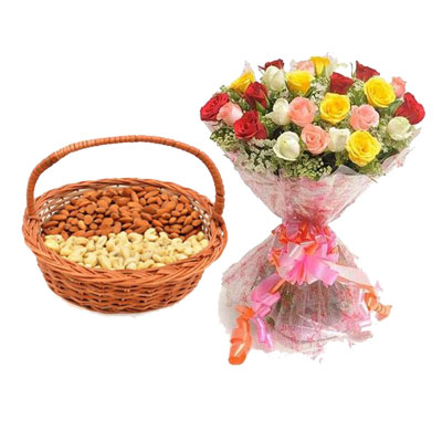 Almonds, Cashew with Mix Roses