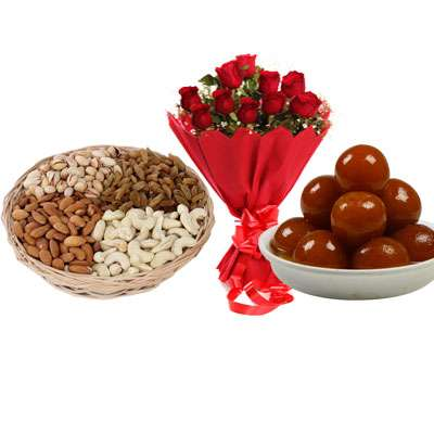 Mixed Dry Fruits, Bouquet & Gulab Jamun