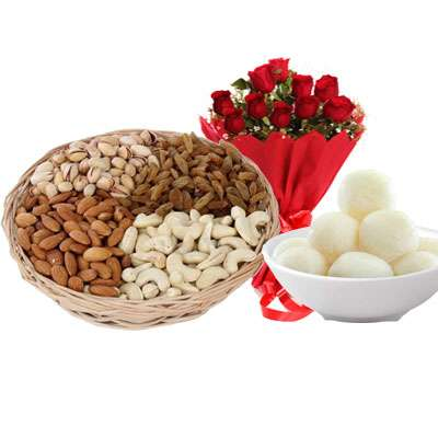 Mixed Dry Fruits, Bouquet & Rasgulla
