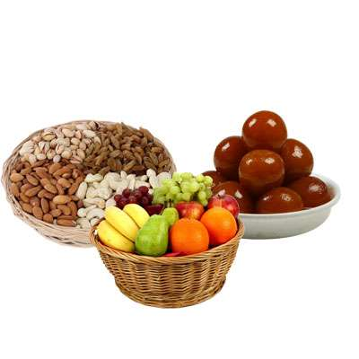 Mixed Dry Fruits, Fruit Basket & Gulab Jamun