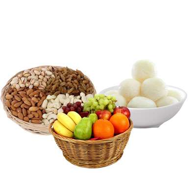 Mixed Dry Fruits, Fruit Basket & Rasgulla