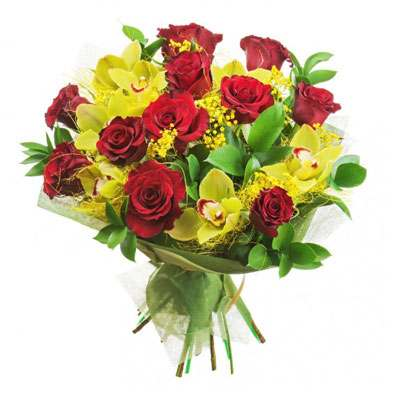 Red Roses & Orchid Bouquet
