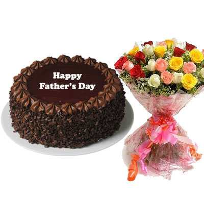 Fathers Day Chocolate Cake with Mix Bouquet & Card