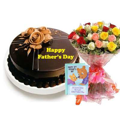 Fathers Day Chocolate Truffle Cake with Mix Bouquet & Card