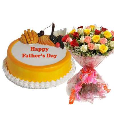 Fathers Day Mango Cake with Mix Bouquet