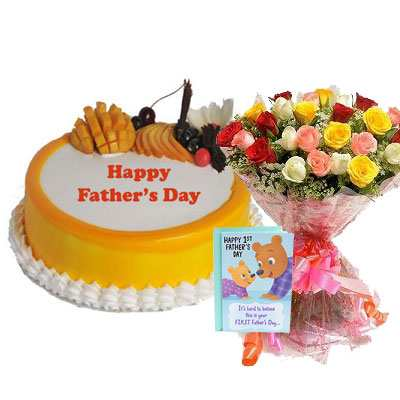 Fathers Day Mango Cake with Mix Bouquet & Card