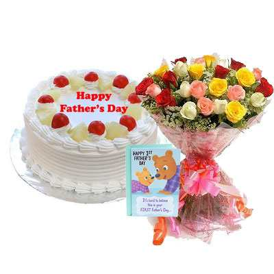 Fathers Day Pineapple Cake with Mix Bouquet & Card