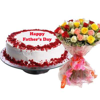 Fathers Day Red Velvet Cake with Mix Bouquet