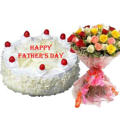 Fathers Day White Forest Cake with Mix Bouquet