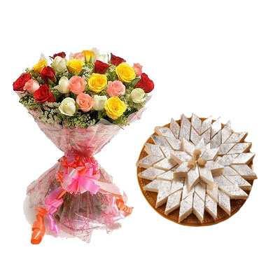 Mix Roses with Kaju Burfi