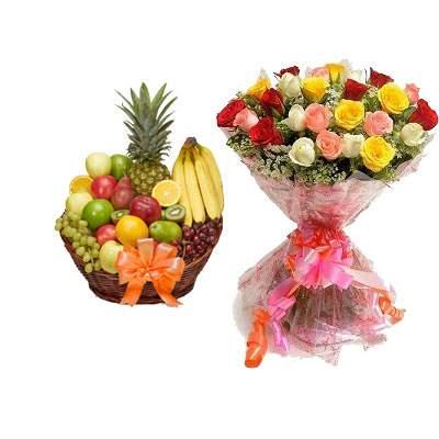 Fruit Basket with Mix Rose Bouquet
