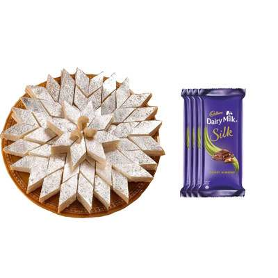 Kaju Burfi with Silk