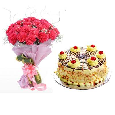 Pink Carnation Bouquet & Butterscotch Cake