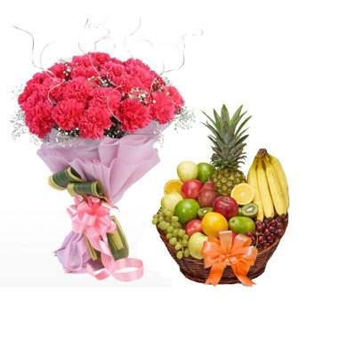 Pink Carnation Bouquet & Fruit Basket