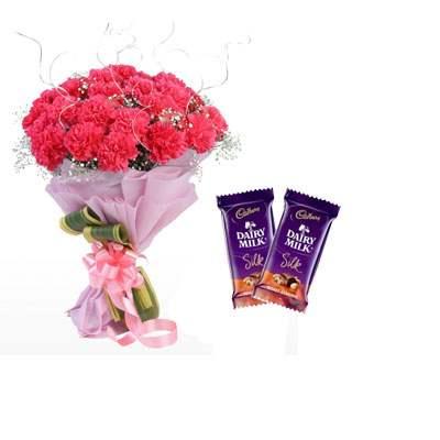 Pink Carnation Bouquet & Silk